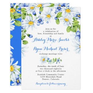 Convite floral azul do casamento da margarida