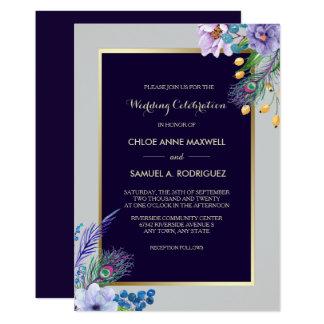 Convite floral azul do casamento de Boho do quadro
