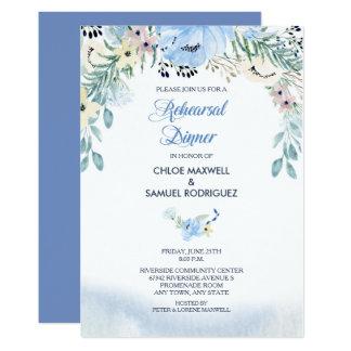 Convite floral azul do jantar de ensaio da