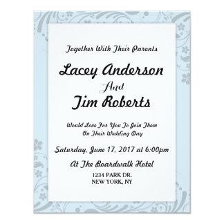 Convite floral azul simples do casamento