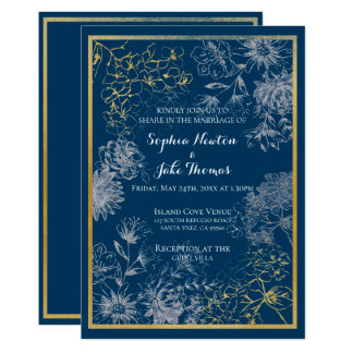 Convite floral azul sofisticado do casamento
