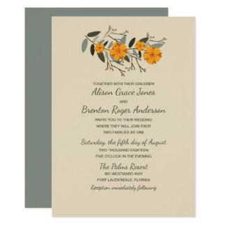 Convite floral bege misturado do casamento das