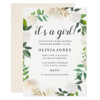 Convite floral bonito do chá de fraldas da