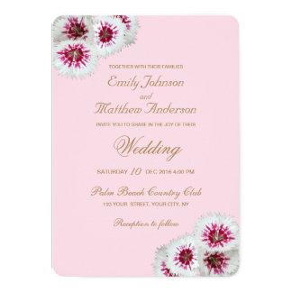 Convite floral branco & cor-de-rosa do casamento