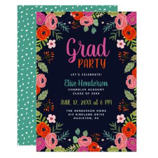 Convite floral brilhante da festa de formatura