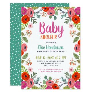 Convite floral brilhante do chá de fraldas