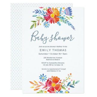 Convite floral colorido do chá de fraldas