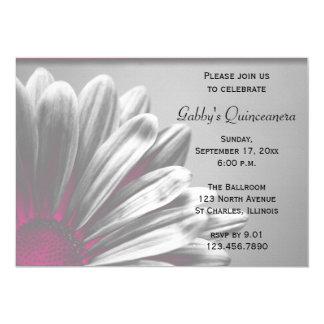 Convite floral cor-de-rosa de Quinceanera dos
