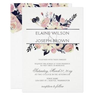 Cartão Convite floral cor-de-rosa do casamento do