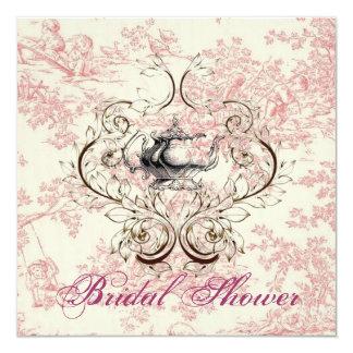 Convite floral cor-de-rosa do tea party do chá de