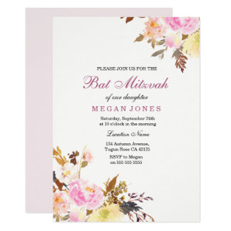 Convite floral cor-de-rosa doce de Mitzvah do