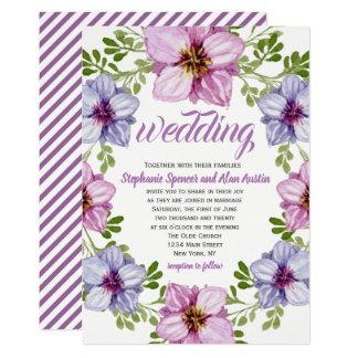 Cartão Convite floral cor-de-rosa roxo do casamento da