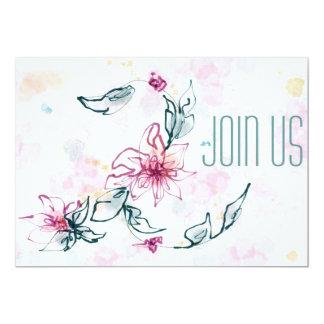 Convite floral da aguarela