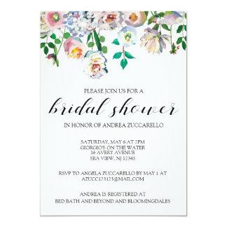 Convite floral da aguarela do chá de panela