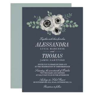 Convite floral da anêmona e do casamento do