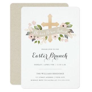Convite floral da cruz da páscoa