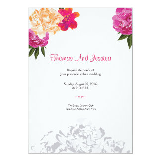 Convite floral da festa de casamento