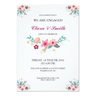 Convite floral da festa de noivado