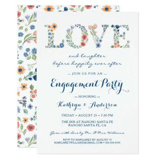 Convite floral da festa de noivado do amor
