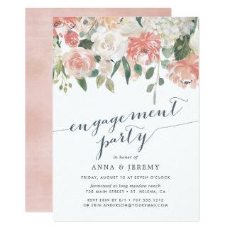 Convite floral da festa de noivado dos plenos