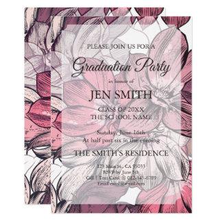 Convite floral da graduação da aguarela