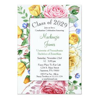 Convite floral da graduação do amarelo do rosa de