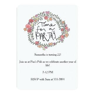 Convite floral da Paridade-tay do aniversário do