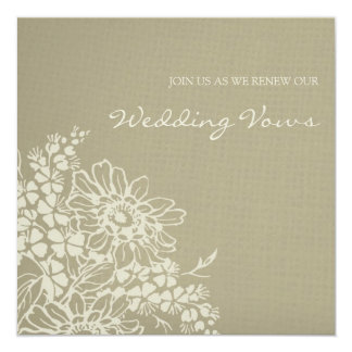 Convite floral da renovação do voto de casamento