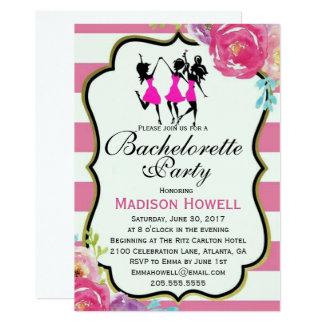 Convite floral de Bachelorette do rosa e do preto