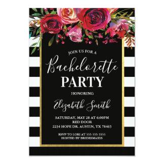 Convite floral de BacheloretteParty da listra