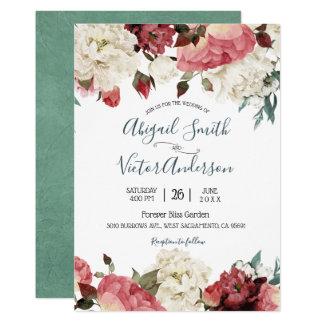 Convite floral de florescência do casamento do