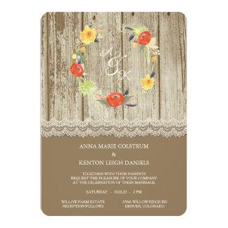 Convite floral de madeira rústico do casamento da