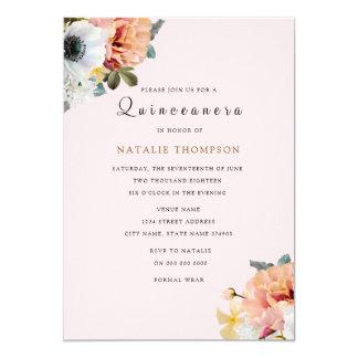 Convite floral de Quinceanera do pêssego rústico