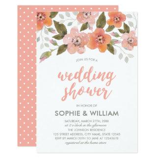 Convite floral delicado do chá de casamento do