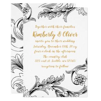 Convite floral delicado elegante do casamento