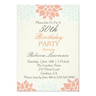 Convite floral do aniversário da dália do pêssego