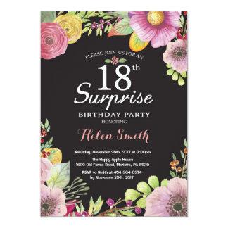 Convite floral do aniversário da surpresa 18o para