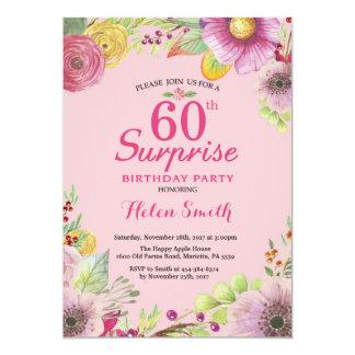 Convite floral do aniversário da surpresa 60th