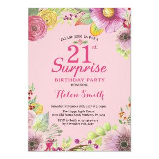 Convite floral do aniversário de 21 anos da