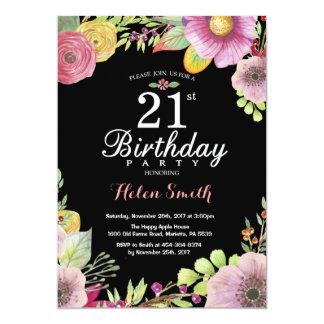 Convite floral do aniversário de 21 anos para