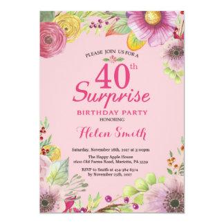 Convite floral do aniversário de 40 anos da
