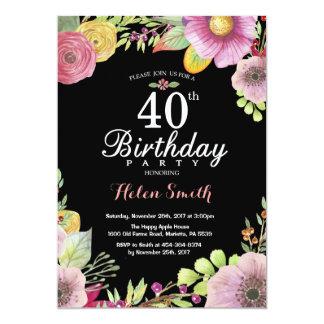 Convite floral do aniversário de 40 anos para