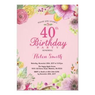 Convite floral do aniversário de 40 anos para o