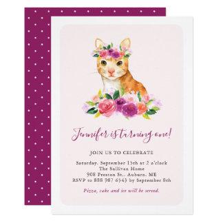 Convite floral do aniversário de criança do gato
