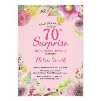 Convite floral do aniversário do 70 da surpresa