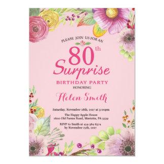 Convite floral do aniversário do 80 da surpresa