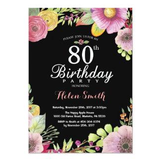 Convite floral do aniversário do 80 para mulheres
