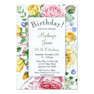 Convite floral do aniversário do amarelo do rosa