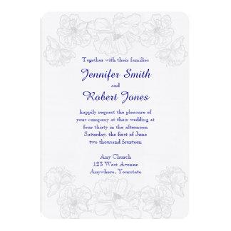 Convite floral do azul marinho e o branco do
