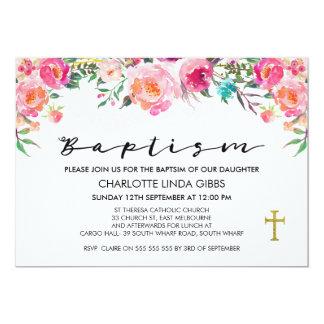 Convite floral do baptismo da aguarela